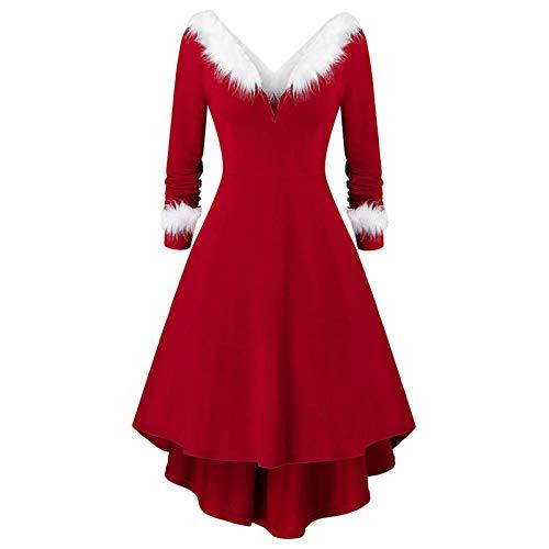 Vestido de Cuello de Piel con Cuello en V Sexy de Navidad para Mujer Disfraz de Miss Santa Claus Vestido de Princesa de Navidad de Punto de Manga Larga