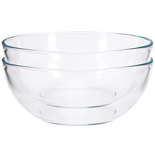 FOYO 8-inch Round Tempered Glass Bowl for Mixing Salad or Cereal, Set of 2 Small Bowls