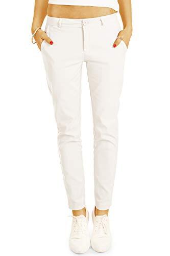 BE Styled Damen Hosen Stoffhose, Bequeme röhrige lockere Passform, mit Stretch - Damen Anzug Chino j8k 38/M Weiss