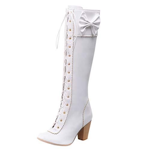 Yowablo Stiefel Damen Mode Schnürstiefel High-Tube Side Zipper Bow Zipper High Heels (39,Weiß)
