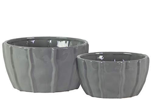 Benzara BM179296 Lot de 2 Bols décoratifs en céramique Motif Vague Gris