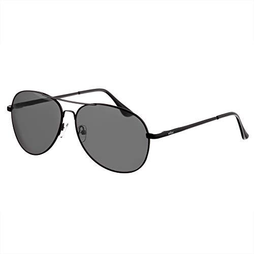 Nebelkind Piloten-Sonnenbrille Pilotenbrille Schwarzer Metallrahmen Graue Gläser Brillenetui Unisex One Size