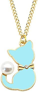 LIPPIP88 - Enamel Cat Pearl Tail Choker Necklace for Women Gifts Cute Animal Necklaces Pendants Jewelry (Blue)