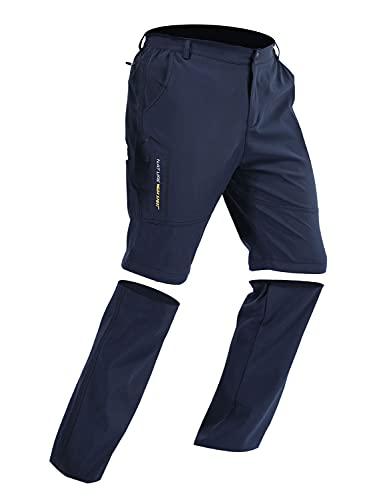 Pantalones de Trekking de Primavera y Verano para Hombres, Pantalón Cortos de Funcionales, Pantalones Escalada al Aire Libre, Senderismo, Montañismo (Azul, M)
