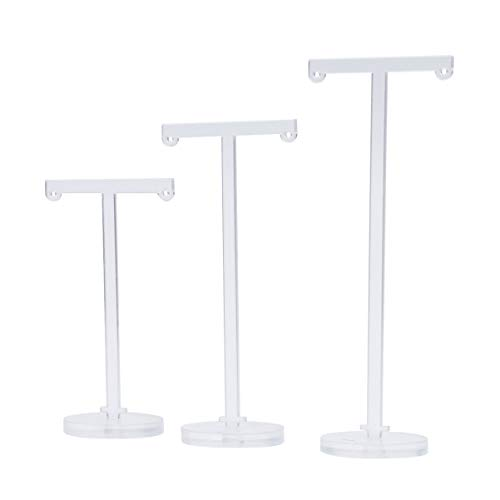 TOPBATHY 3 pcs/Set Earrings Stand T-Shape Jewelry Organizer Acrylic Ear Studs Holder Hanger Display Rack for Craft Show Shop Home