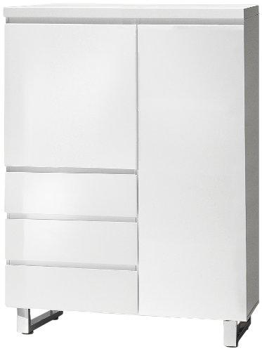 Robas Lund, Schrank, Kommode, Sydney, Hochglanz/weiß/verchromt, 96 x 132 x 42 cm, 48906W1