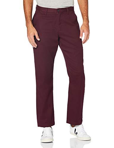 MERAKI Pantalon Chino en Coton Homme, Rouge (Bordeaux), 34W / 34L, Label: 34W / 34L