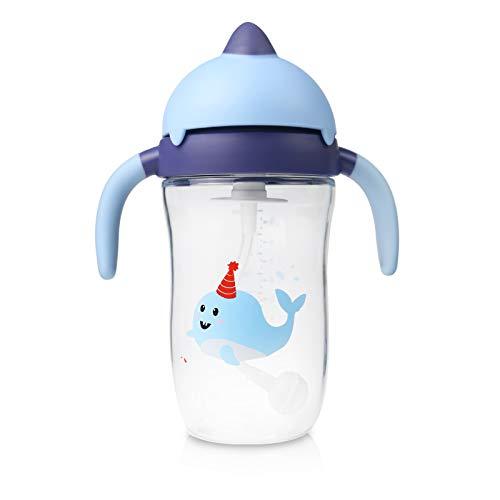 Vaso Bebe, Botella Agua Niños con Pajita de Silicona y Asas 6m+ sin BPA, Tritan, Antiderrame, 270ml, Azul