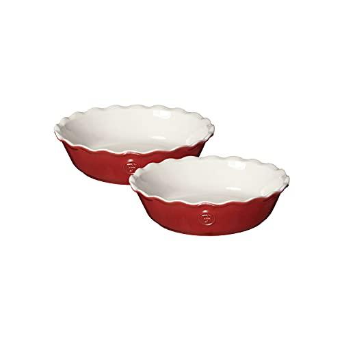 Emile Henry 369522 Set of 2 Pie Dish Mini-Kuchenform, Keramik, rot