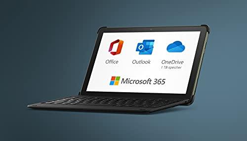 Das neue Fire HD 10-Tablet, 32 GB, schwarz, mit Werbung + Bluetooth-Tastatur + 12-monatiges Abonnement für Microsoft 365 Single