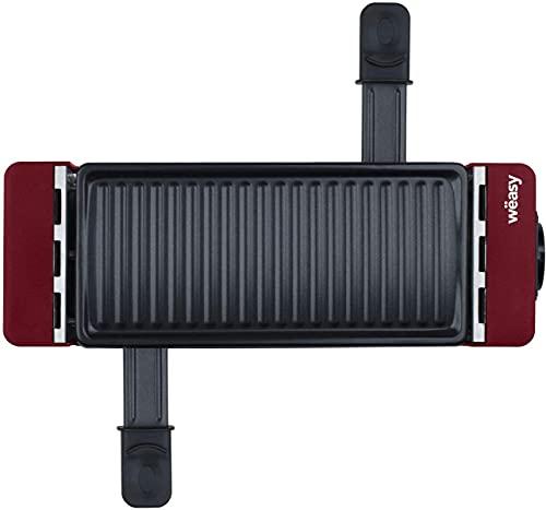 Wëasy Personen, multifunktional, TAK12, Rot, Duo Raclette 2-in-1, Schmelzkäse und Grill, antihaftbeschichtet, Anschluss mit TIK12 und bis zu 4 Geräten, 2 Pfännchen und 2 Holzspatel, Holz