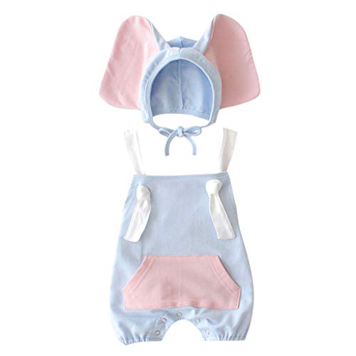 Julhold Baby Meisje Jongen Kid Leuke Mode Mouwloos Losse Katoen Romper +Cartoon Olifant Hoed Kostuum Outfits Set 0-3 Jaar
