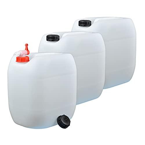 plasteo 3er Set: 30 Liter Getränke u.Trinkwasserkanister Wassertank...