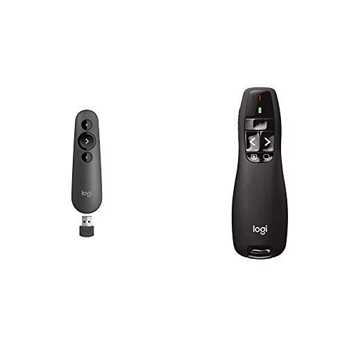 Logitech R500 Presentador Inalámbrico, 2.4 GHz con Receptor USB + R400 Presentador Inalámbrico, 2,4 GHz con Receptor USB, Puntero Láser Digital Rojo