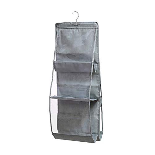 Organizador de 6 bolsillos, a prueba de polvo, organizador de bolso de mano de doble cara, para dormitorio, armario, sala de estar