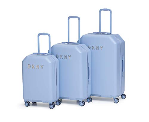 DKNY Metal Logo Hardside Spinner Luggage with TSA Lock, Light Blue, Checked-Large 28-Inch