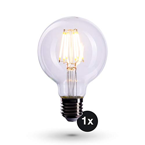 CROWN Bombilla de filamento LED, casquillo E27, 6 W, equivalente a bombilla de 60 W, no regulable, luz blanca cálida, 230 V, FL05, bombilla transparente para iluminación brillante