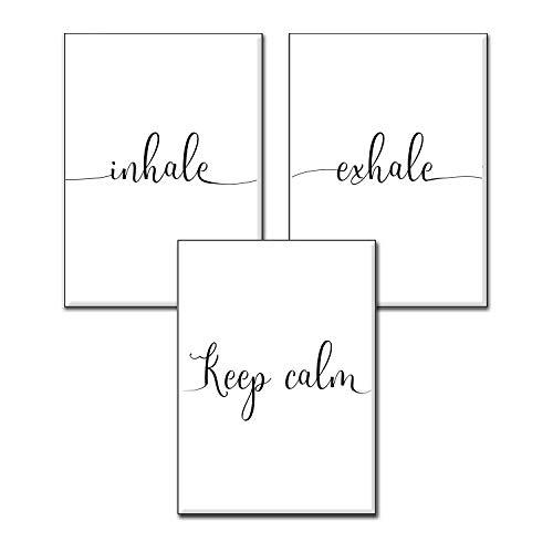 4Good Yoga Sport Bilder, Wandbilder Wohnzimmer als lustige Sprüche, Motivations Bilder fürs Büro oder die Küche, Bild mit Spruch als Schlafzimmer Poster ohne Rahmen (Inhale-Exhale A4)