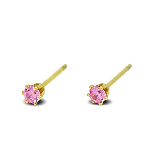 Blue Diamond Club - Tiny 9ct Yellow Gold Filled Womens Stud Earrings Girls Round Small 3mm Pink Crystals 6 Claws