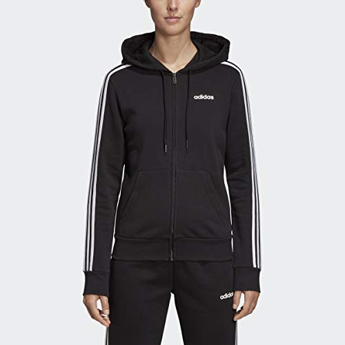 adidas Women's Essentials Women's 3-Stripes Fleece Hoodie, Black/White, Medium