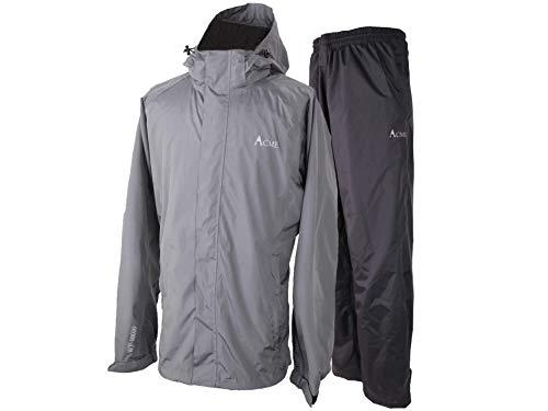 Acme Projects Regenanzug (Jacke + Hose), 100% wasserdicht, atmungsaktiv, Klebebandnaht, 10000 mm / 3000 g, YKK-Reißverschluss (groß, grau)