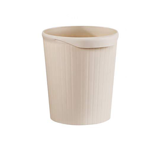 WL Papelera de plástico de color sólido sin tapa con asas para el hogar redondo de basura para oficina 24x28cm(9x11inch) b