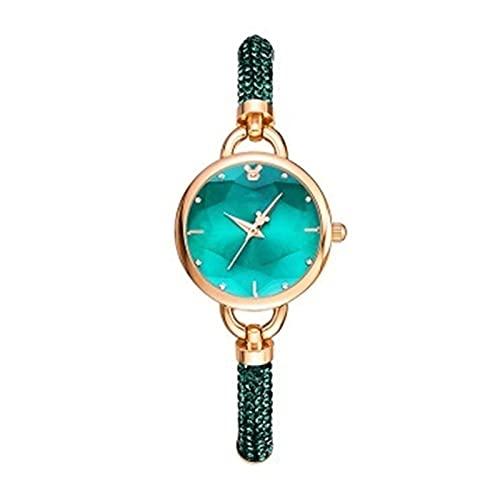 ZFF Reloj de Las señoras - Pulsera Mira a Las niñas Versión Coreana de la Tendencia Impermeable Simple Style Retro Fashion Small Green Watch (Color : Green)