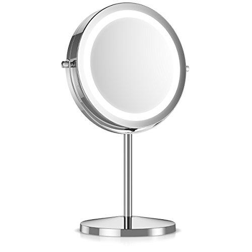 Navaris Miroir Cosmétique Lumière LED - Miroir à Pied 2 Faces Normal/Grossissant x5 - Miroir Rond Lumineux pour Maquillage Rasage - Rotatif 360°