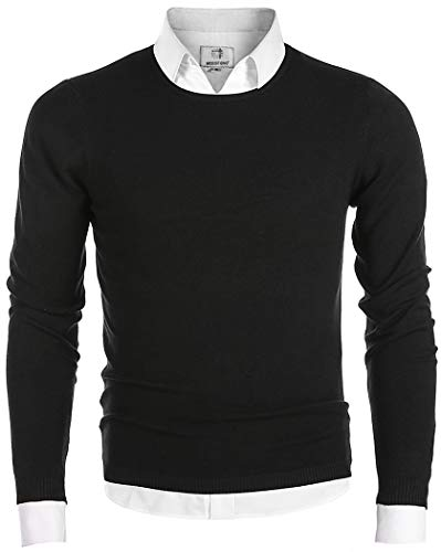 MOCOTONO Men's Long Sleeve Crew Neck Pullover Knit Sweater Black Large