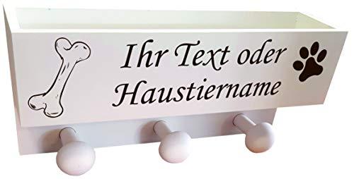 UDIG Garderobe für Hunde mit personalisierbarer Gravur, Dogstation, Leinengarderobe, Leinenparkplatz weiß 30x15x8,5cm