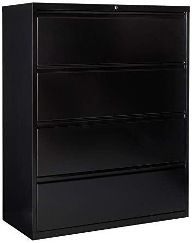 Lorell 4-Drawer Lateral File, 42 by 18-5/8 by 52-1/2-Inch, Black