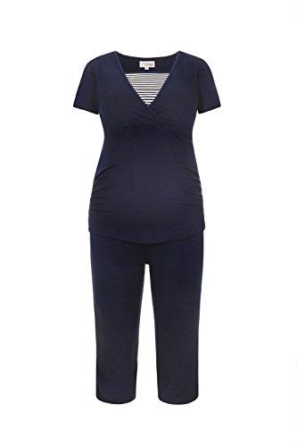 Herzmutter Stillpyjama-Umstandspyjama Kurz – Gestreifter Schlafanzug für Schwangerschaft – Krankenhaus-Wochenbett Pyjama-Set – Nachtwäsche für Stillzeit-Stillfunktion – 2600 (M, Blau/Weiß)