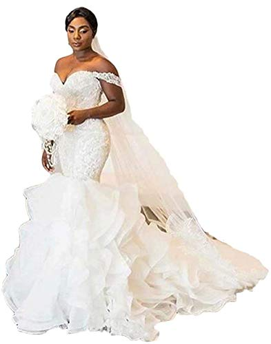 Sexy Off The Shoulder Wedding Dresses for Bride Mermaid Beaded Sweetheart Wedding Bridal Gowns White (Apparel)