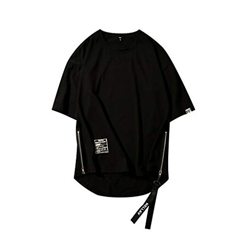 FRAUIT T-Shirt Herren Hip Hop Style Sommer Shirt Patchwork O-Neck Kurzarm T-Shirt Top Mode Design Streetwear Basic T-Shirt Freizeit Shirt Hemd Weich Atmungsaktiv Bequem Kleidung