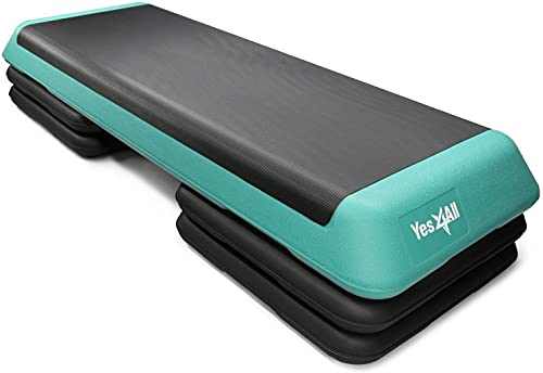 Yes4All LC77 Adjustable Aerobic Step Platform with 4 Risers Exercise Step Platform/Aerobic Stepper, X-Large, Black/Green