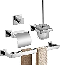 Bathroom Accessory Set,Toilet Paper Holder Robe Hook Modern Stainless Steel +A Grade ABS Metal 4pcs - Bathroom Wall Mounted