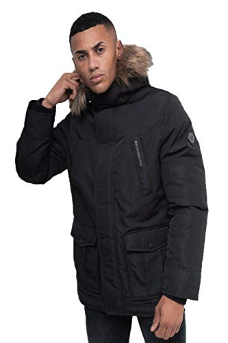 Mens Crosshatch Black label Fellflower Parka Jacket in Black