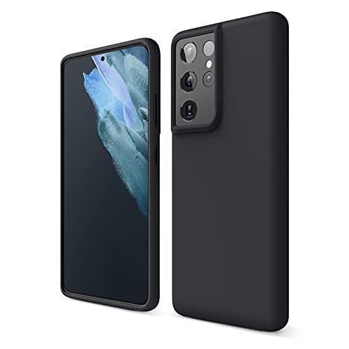 elago Cover di Silicone Liquido Compatibile con Samsung Galaxy S21 Ultra Case, Silicone Premium, Protezione Completa del Dispositivo: 3 Livelli di Struttura (Nero) (Nero)