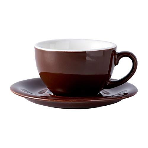 Taza de agua 300 ml Coloridas tazas de café y platillos de café de la taza de té de la taza de té de cerámica Latte Taza de té de la taza de café envase (Capacity : 300ml, Color : Brown)