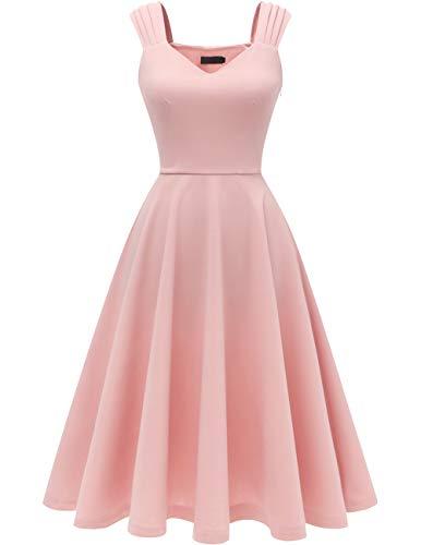DRESSTELLS Damen 1950er Midi Rockabilly Kleid Vintage V-Ausschnitt Hochzeit Cocktailkleid Faltenrock Blush S