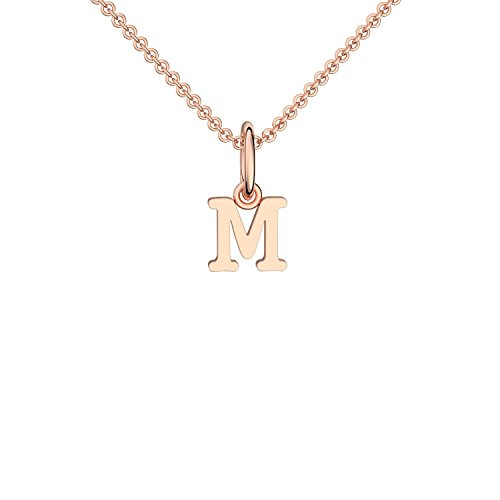 Halskette Buchstabe Rosegold hochwertig vergoldet Buchstabe M - inkl. Luxusetui + - Kette Buchstabe M Buchstabenanhänger Buchstaben Anhänger Kette Rosegold Rose rosé FF116 VGRS45