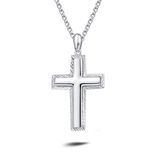 Carleen White Gold Plated Solid Sterling Silver Diamond-Cut High Polished Mens Cross Crucifix Pendant Necklace Rolo Chain Fine Jewelry For Men Boys, Length 20