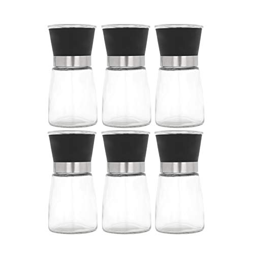 Shoze 6 Stück Salz und Pfeffermühlen Set Verstellbarem Keramikmahlwerk aus Hochwertigem Edelstahl und Glas
