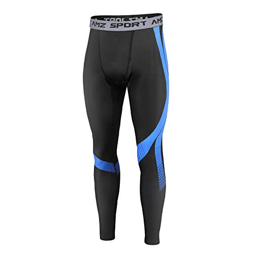 AMZSPORT Herren Thermounterwäsche Kompressionshose Funktionsunterwäsche Winter Laufhose Trainingshose, Schwarz Blau XL