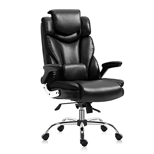 YAMASORO Ergonomic Home Office Desk Chair,Comfortable High Back Executive Leather Chair with Adjustable Lumbar and Head Support,Thick Padding Swivel Task Chair for Women Adults Men(Black)