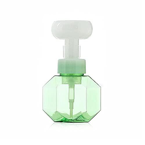 WOYING Botellas Recargables en Forma de Flor,Botella de Bomba de Espuma Transparente Dispensador de jabón líquido Botella vacía,Gel de Ducha(Green)
