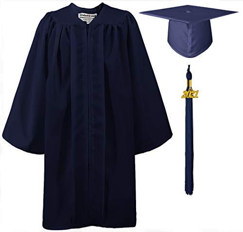 GraduationMall Guardería Graduación Toga y Birrete Mate para Niños 2021 Preescolar Niño Niña Regalo Marina 36(131-138cm)