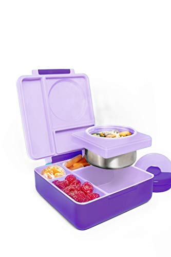 OmieBox Bento Box for Kids - Insulated Bento Lunch Box with Leak Proof Thermos Food Jar - 3 Compartments, Two Temperature Zones - (Purple Plum) (Single)