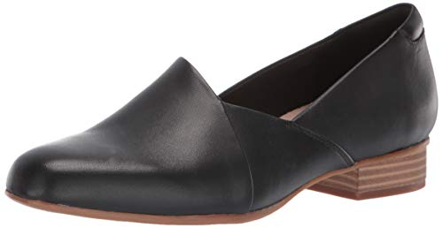 Clarks womens Juliet Palm Loafer, Black Leather, 7 Wide US