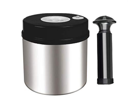 XGHW Luftdichte Kaffeekanister-Edelstahl-Kaffeebehälter-Vakuumspeicher des Ventil-0.7L / 1L / 1.4L for Kaffee-Tee und Pulver (Color : Black, Size : 0.7)